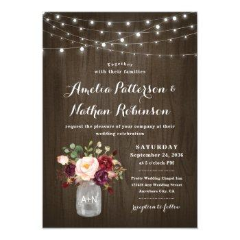 rustic burgundy blush floral mason jar wedding invitation
