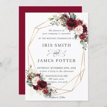 rustic burgundy blush floral wedding geometric invitation
