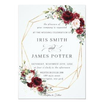 Small Rustic Burgundy Blush Floral Wedding Geometric Invitation Front View