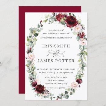 rustic burgundy blush floral wreath leafy wedding invitation
