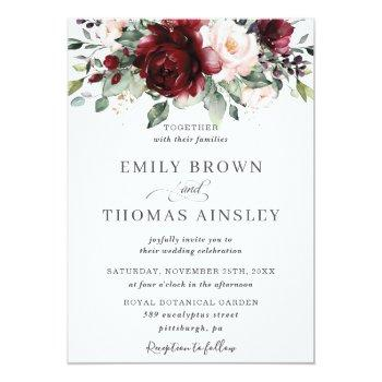 Small Rustic Burgundy Blush Pink Floral Greenery Wedding Invitation Front View