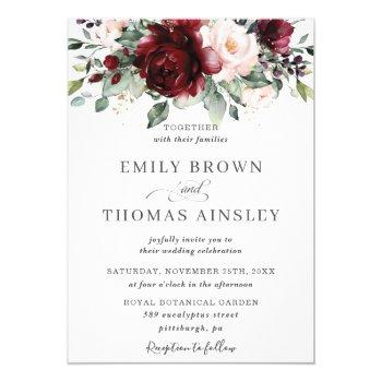 rustic burgundy blush pink floral greenery wedding invitation