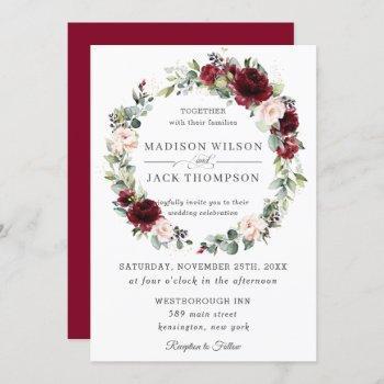 rustic burgundy blush pink floral wreath wedding invitation