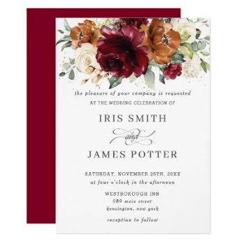 rustic burgundy burnt orange ivory floral wedding invitation