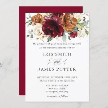 rustic burgundy burnt orange ivory floral wedding invitation