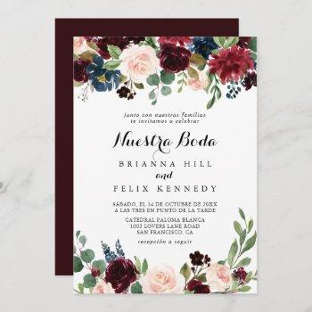 rustic burgundy calligraphy nuestra boda wedding invitation