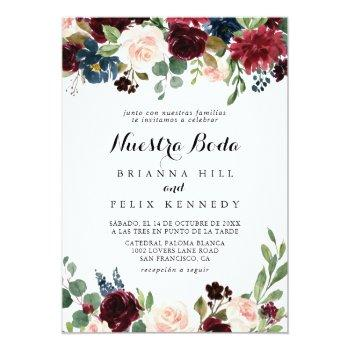 Small Rustic Burgundy Calligraphy Nuestra Boda Wedding Invitation Front View
