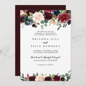 rustic burgundy calligraphy traditional wedding invitation