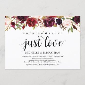 rustic burgundy floral elopement reception invites