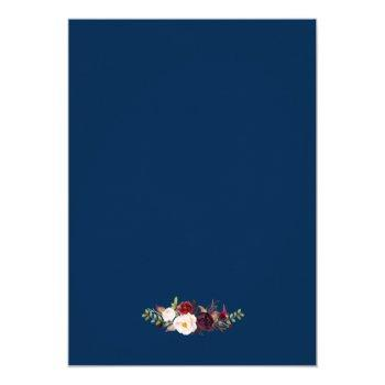 Small Rustic Burgundy Floral Gold Navy Blue Wedding Invitation Back View