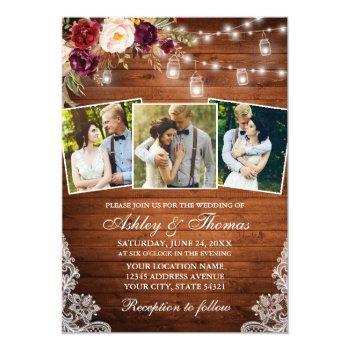 rustic burgundy floral jar lights 3 photo wedding invitation