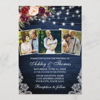 rustic burgundy floral lace lights 3 photo wedding invitation