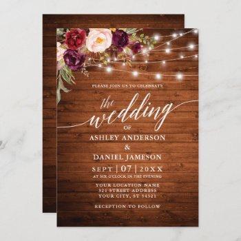 rustic burgundy floral lights calligraphy wedding invitation