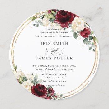 rustic burgundy ivory floral gold greenery wedding invitation