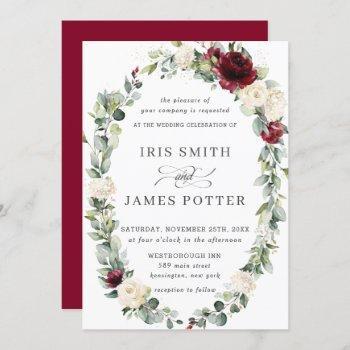 rustic burgundy ivory floral wreath leafy wedding invitation