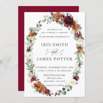 rustic burgundy ivory orange floral wreath wedding invitation
