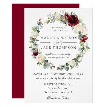 rustic burgundy ivory white floral wreath wedding invitation