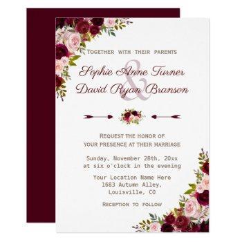 rustic burgundy marsala floral wedding invitation