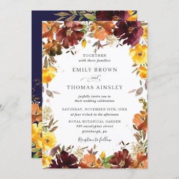 rustic burgundy orange yellow floral fall wedding invitation