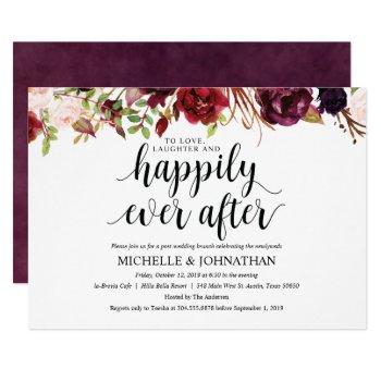 rustic burgundy post wedding brunch invitation