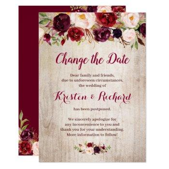 rustic burgundy red floral change the date card