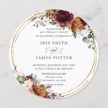 rustic burgundy rust floral gold greenery wedding invitation