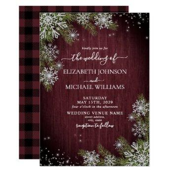 rustic burgundy silver winter wood plaid wedding invitation