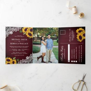 rustic burgundy wood lace sunflower wedding photo tri-fold invitation