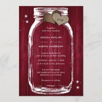 rustic burgundy wood mason jar wedding invitations