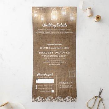 rustic burlap baby's breath wedding tri-fold invitation