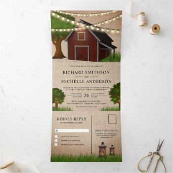 rustic burlap farm red barn string lights wedding tri-fold invitation