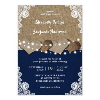 Small Rustic Burlap Lace Navy Blue Wedding Invitations Front View
