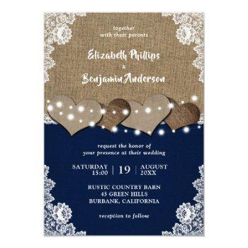 rustic burlap lace navy blue wedding invitations