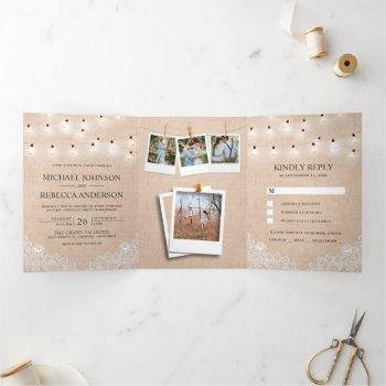 rustic burlap lace string lights photo wedding tri-fold invitation