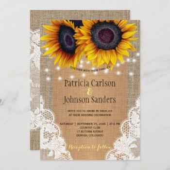 rustic burlap sunflowers lights and lace wedding invitation