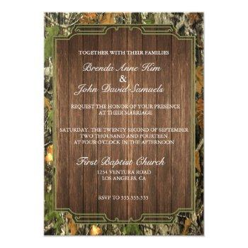 rustic camo wood wedding invitation