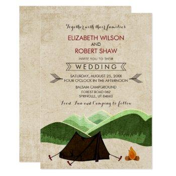 rustic camping wedding invitations