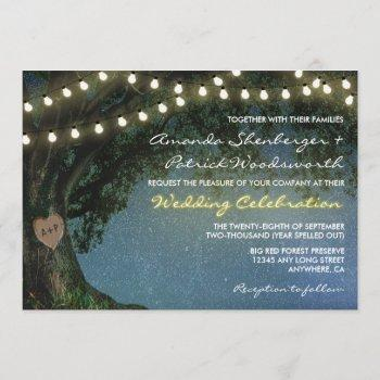 rustic carved heart oak tree wedding invitations