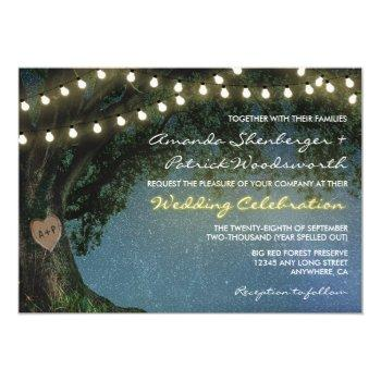 rustic carved heart oak tree wedding invitations