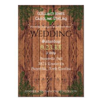 Small Rustic Celtic Claddagh Wedding Invitation Front View