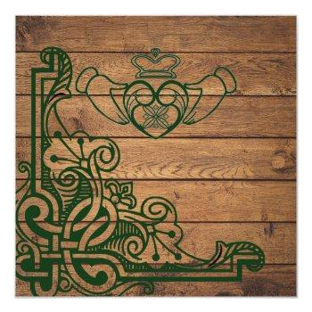 Small Rustic Celtic Claddagh Wedding Invitation Back View