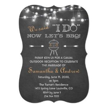 rustic chalk mason jars string lights i do bbq invitation