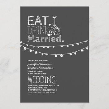 rustic chalkboard eat drink and be married wedding invitation