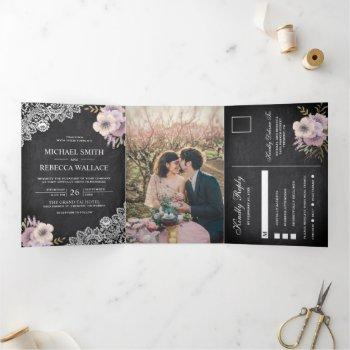 rustic chalkboard lace pink floral wedding photo tri-fold invitation