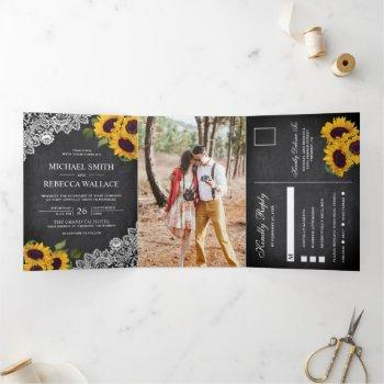 rustic chalkboard lace sunflower wedding photo tri-fold invitation