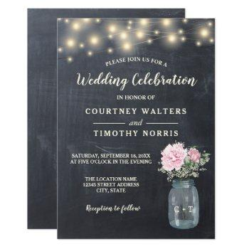 rustic chalkboard peony floral mason jar | wedding invitation