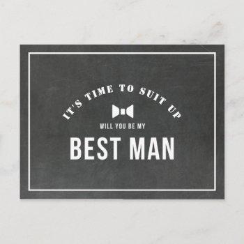 rustic chalkboard will you be my best man invitation postcard