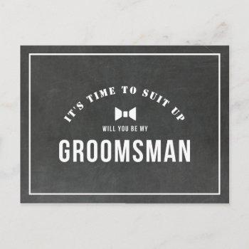 rustic chalkboard will you be my groomsman invitation postcard