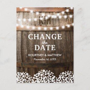 rustic change the date | wedding postponed announcement postcard