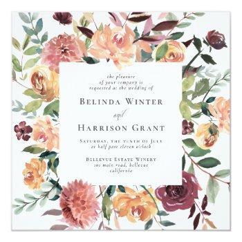 rustic charm sq burgundy blush pink floral wedding invitation